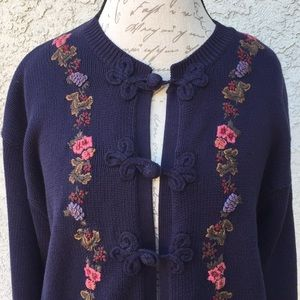 Vintage floral embroidered navy cardigan sweater